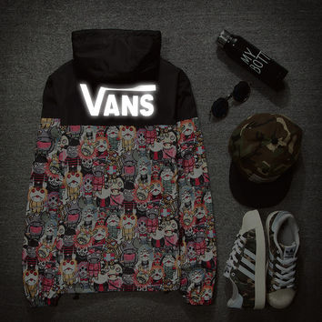 VANS:: a short section of young men and women couples Cotton Hooded windproof waterproof jacket coat luminous students