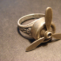 Steampunk Propeller Ring - Movable Blades (805)
