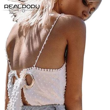 ESBONHS Realpopu 2017 Summer Sun Sexy Beach Tank Tops Solid White Pompon V Neck Backless String Hole Belt Tie Tassel Lace Up Tee Camis
