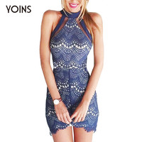 YOINS Summer Fashion Women Halter Neck Lace Lined Mini Dress Sexy Off Shoulder Sleeveless Back Zip Dresses Vestidos