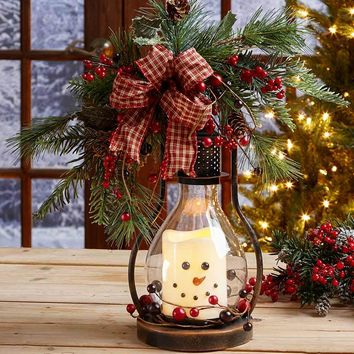 Country Christmas Snowman LED Hurricane Lantern Flame-less Winter Holiday Decor