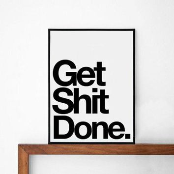 Done Inspirational Poster Typography Art Wall Decor Mottos Graphic Design Happy Words Giclee Art Inspiration Love Quote Print