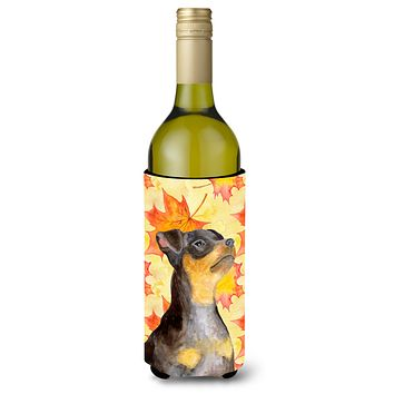 Miniature Pinscher #2 Fall Wine Bottle Beverge Insulator Hugger BB9985LITERK