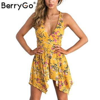 BerryGo Backless zipper women jumpsuit romper bodysuit 2017 summer beach overalls playsuit leotard Deep V floral print coveralls