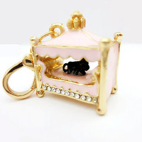 Charm Pink Crystal Dog on Bed Juicy Couture style- in Gift Bag