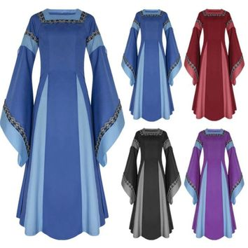 Movie Middle Ages Women Square Neck Flare Sleeve Cosplay Costumes Long Dress Medieval Dress Black Blue Red Purple