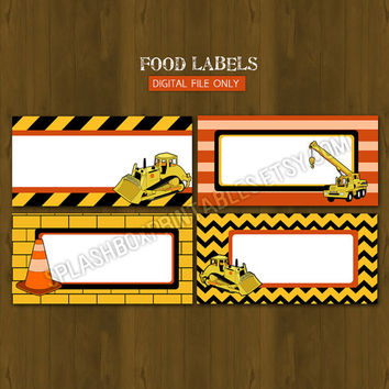 Construction DIY Printable Food Labels - Construction dump truck themed Party Place Cards or Food Tent Cards - INSTANT DOWNLOAD Yellow Black