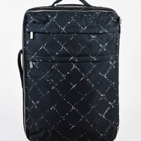 Chanel Black and White Canvas Graphic Diamond Print Travel Rolling Suitcase Bag