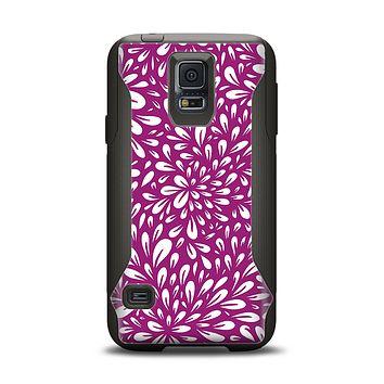 The Purple & White Floral Sprout Samsung Galaxy S5 Otterbox Commuter Case Skin Set
