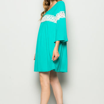 Jade Bell Sleeve Crochet Trim Swing Dress