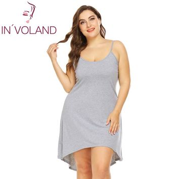 IN'VOLAND Women Sleepwear Dress Nightgowns Plus Size XL-5XL Adjustable Spaghetti Strap Cami Sleep Dresses Sleepshirts Oversized