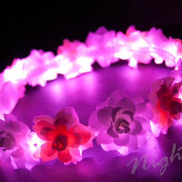 Pink Swirl & White Rose NightFlo (Pink LED) for EDC and Coachella, Free Mini Headband w Purchase