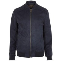 Vegan Suede Navy Bomber Jacket