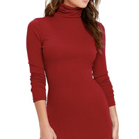 Phenomenal Feeling Wine Red Long Sleeve Bodycon Dress