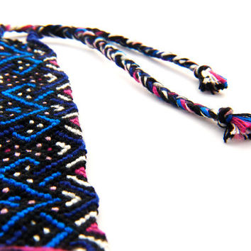 Blue and Pink Micro Macrame Friendship Bracelet Cuff, Gift for best friends and teenagers. Handwoven with the best quality embroidery thread