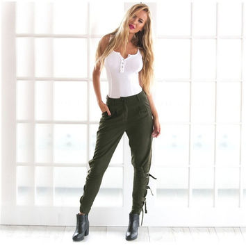 Sports Casual Women's Fashion Hot Sale Winter Green Pants [9456555140]