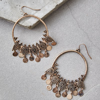 AEO Charm Hoop Earrings, Gold