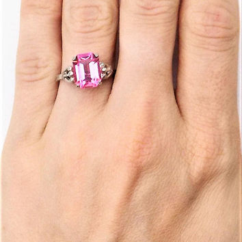 Sarah Coventry Sterling Ring, Art Nouveau Style, Adjustable, Pink Glass Emerald Cut Rhinestone, Vintage Rings