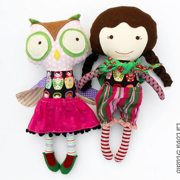 RAGDOLLS, fabric dolls, owl plush, cloth dolls, dolls, halloween, fortune teller doll, owls, play set, hippy doll, dress up dolls, boho doll