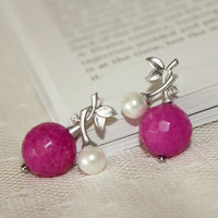 Silver Plated Flower Earrings Unique Pearl by anatoliantaledesign