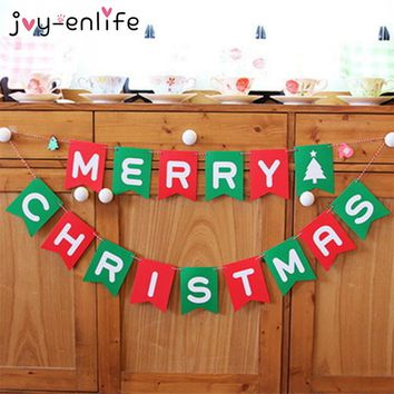 JOY-ENLIFE New Year Merry Christmas Garland Bunting Banner Set Christmas Party Decor Party Photo Prop Booth Party Supplies