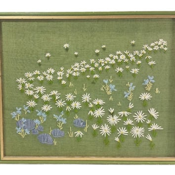 Field of Daisies Crewel Embroidery Art, Daisies Wildflowers Picture, Large Framed Needlework Flower Picture, Vintage Wall Decor, Finished