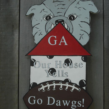 Georgia Bulldogs door hanger  College teams door hangers Football door art Sports door decor College Mascot door hangers Jack Jack's Wayart