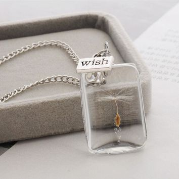 Real Dandelion Seeds In Glass Wish Bottle Necklace - Free Shipping
