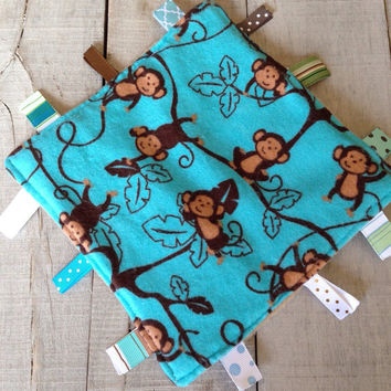 Monkey crinkle toy, baby crinkle tag toy, Blue baby crinkle toy, crinkle lovey, crinkly taggy blanket