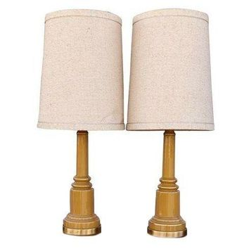 Pre-owned Vintage Tall Glazed Ceramic Table Lamps - A Pair