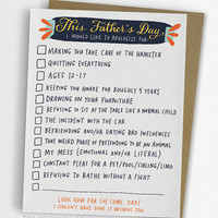 Checklist Father's Day Card, Funny Father's Day Card / No. 244-C
