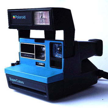 POLAROID SuperColors Blue Instant Camera LM Program Vintage 80s Retro 635 LC 600 Type Very Rare Super Color Tested and Working