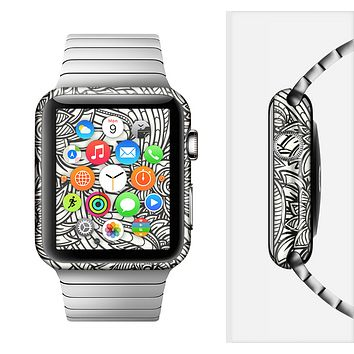 The Black & White Vector Floral Connect Full-Body Skin Set for the Apple Watch