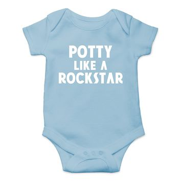 Crazy Bros Tee's Potty Like a Rockstar Funny Cute Novelty Infant One-Piece Baby Bodysuit