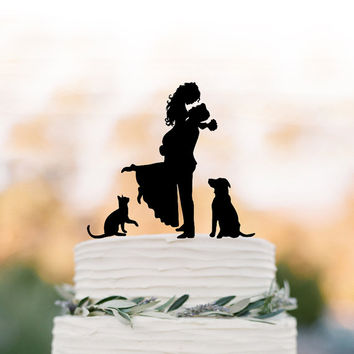 Bride and groom silhouette Wedding Cake topper with cat, topper with dog cake topper for wedding, groom lifting bride