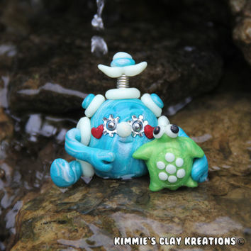 Polymer Clay Robot  I Love Turtles Glow Figurine - Miniature Whimsical Character Sculpture - Simply Charming Mini Aquatic Sea Robots