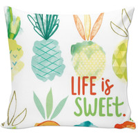 Life Is Sweet Pineapple Pillow