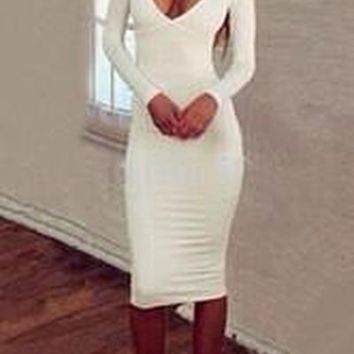 Spring Long Sleeves Plunge Neck Hollow Out Back Midi Dress White