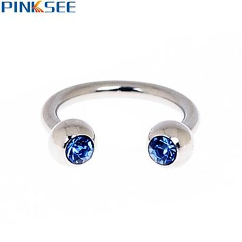 Stainless Steel Crystal Circular Barbells Horseshoe Nose Lip Eyebrow Ring