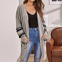 Grey Tribal Tape Detail Pocket Front Cardigan Women Embroidery Fringe Casual Long Outerwear Cardigans