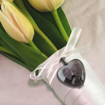 Custom Wedding Bouquet Photo Charm  - Double Sided - Sterling Silver and Beveled Glass - Heart Shape