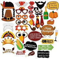 Thanksgiving Day Photo Booth Props, 38 PCS Happy Thanksgiving Photo Booth Props Decorations, Happy Thanksgiving Party Favor
