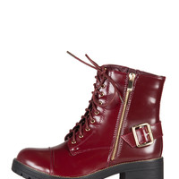 Patent Buckled Combat Boots - Wine - 8.5