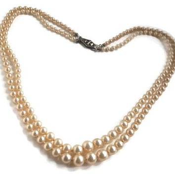 Double Strand Faux Pearl Necklace,Vintage Imitation Pearls with Knotted Pearls,Bridal Necklace,June Wedding or Birthstone Jewelry