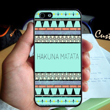 Hakuna Matata Aztec Blue Pattern  - Photo Hard Case design for iPhone 4/4s Case, iPhone 5 Case, Black or White ( Choose Option )