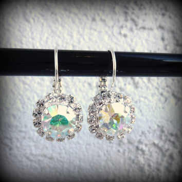 Swarovski crystal earrings, 8mm drop lever-backs, crystal AB, bridal, not sabika,
