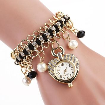 Heart-Shaped Pearl And Diamond Watch Line Type