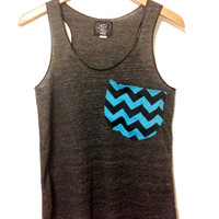 Chevron Pocket Tank Top Women's Eco Friendly Racerback Tanktop in Heather Black Slub Pocket tanktops