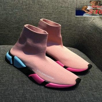Purchase Balenciaga Speed Knit Authentic Trainers Face Pink Contrasting Textured Multi Color Sole shoe