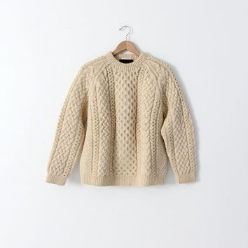 vintage Scottish wool sweater, fisherman sweater